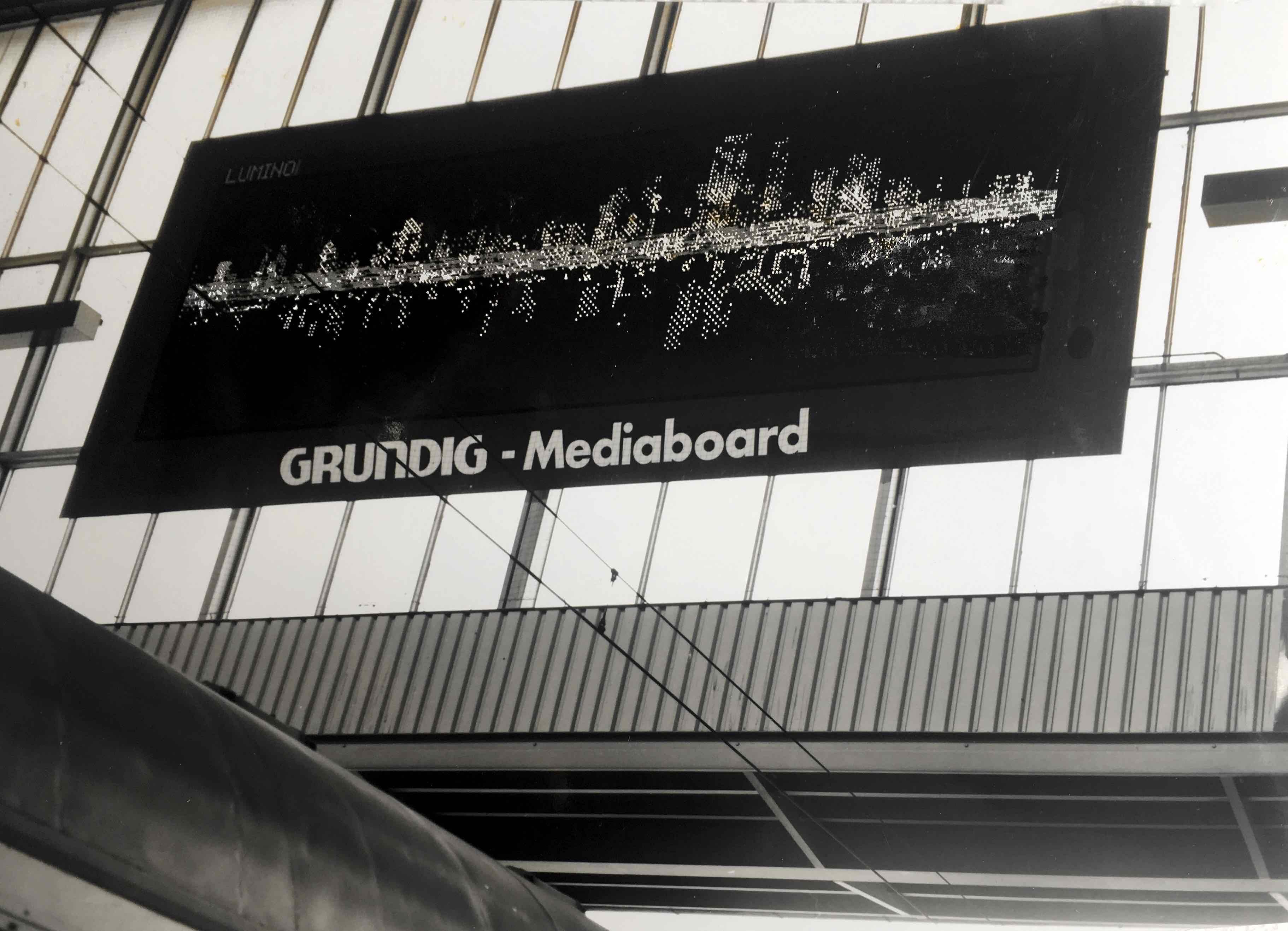stadt am wasser, animation, led-mediaboard, münchen 1990