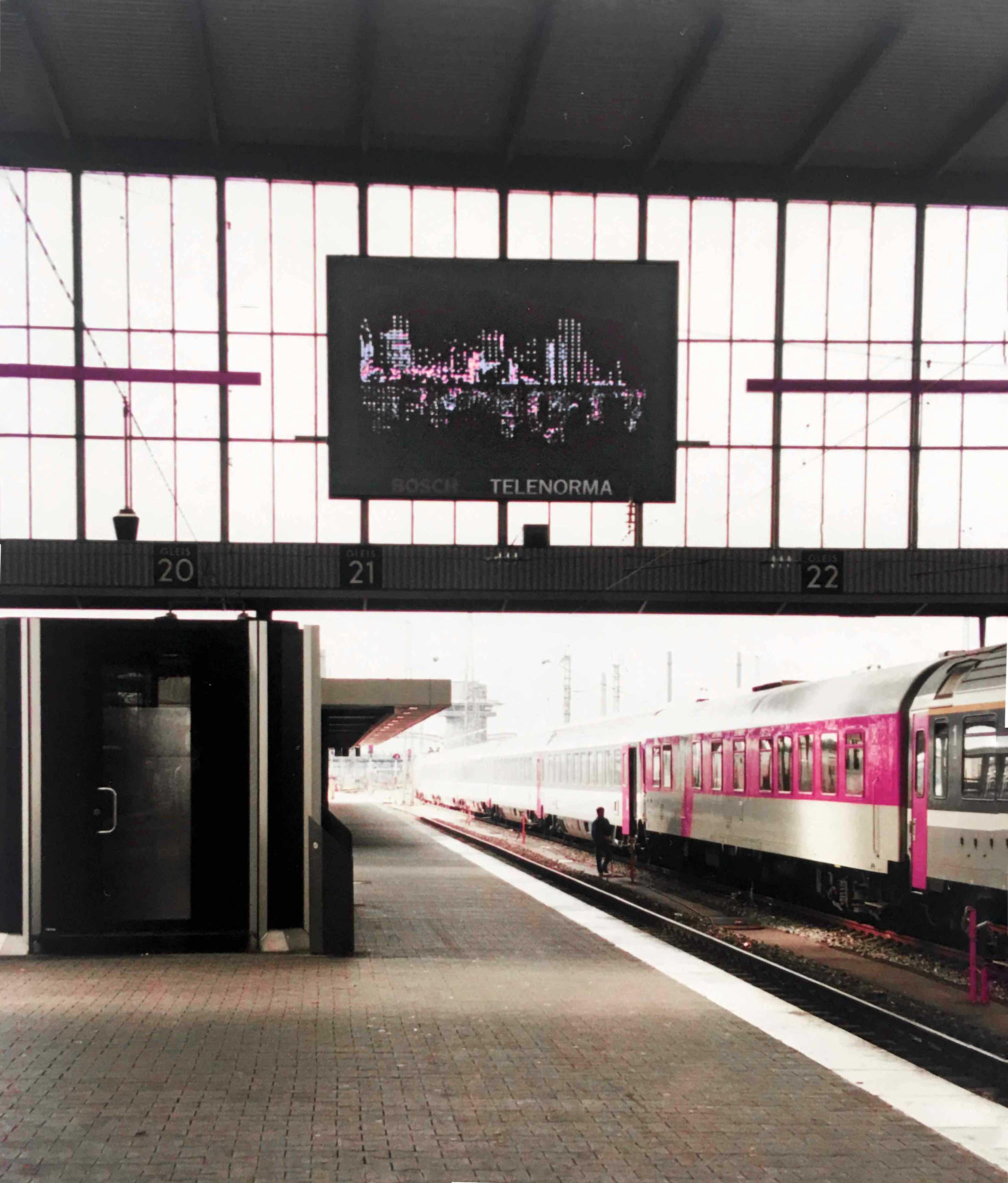 stadt am wasser, led-screen, münchen 1993