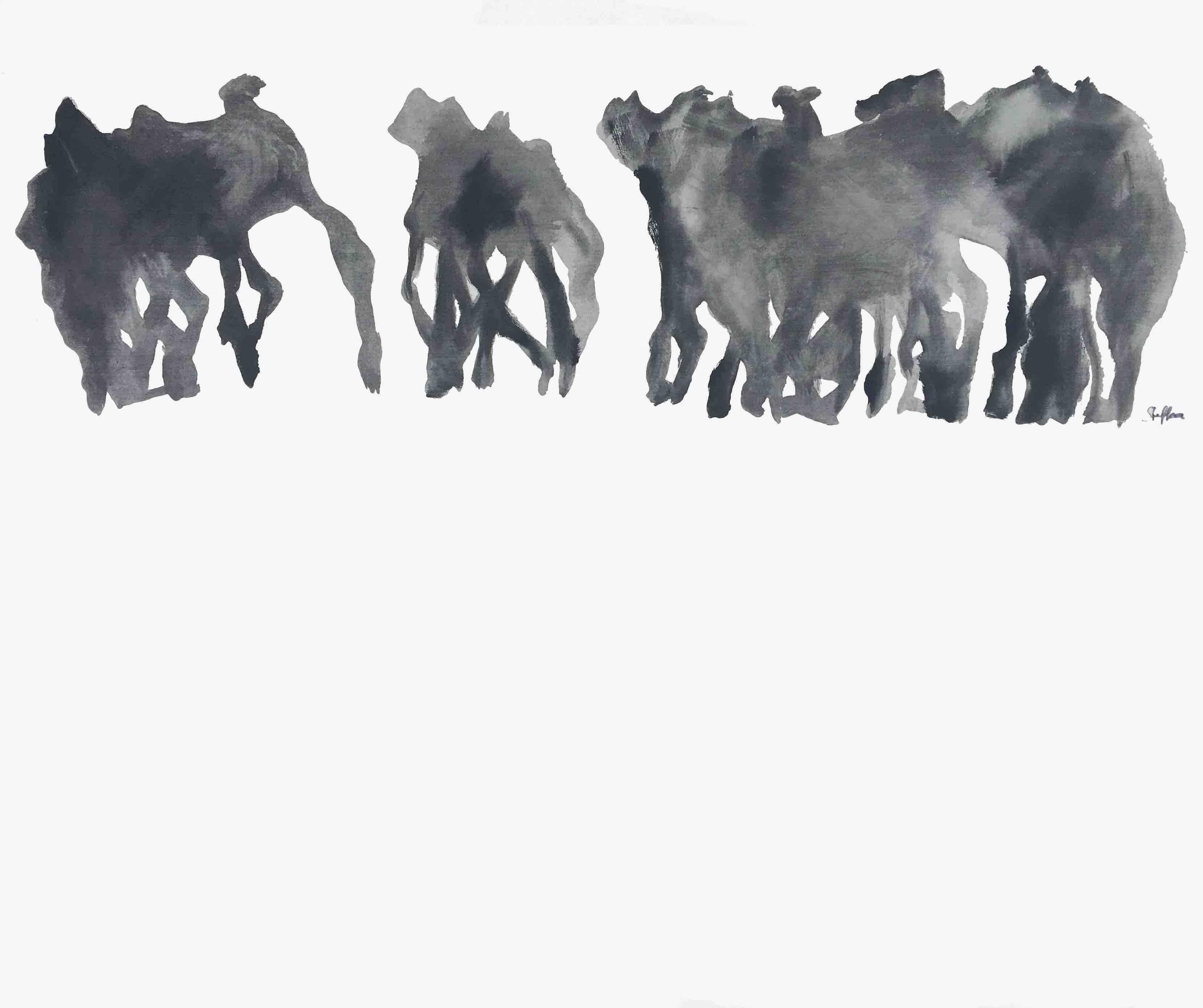 kamele, acryl auf leinwand, 110 x 90 cm, 1983