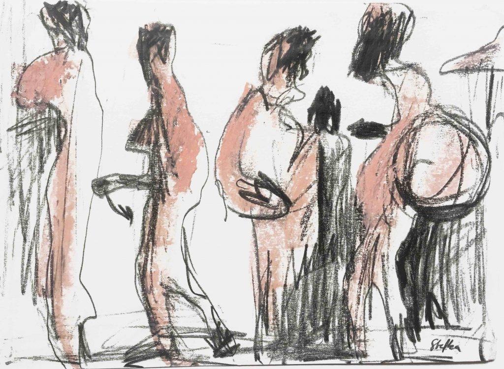 priesterinnen, bleistift und ölkreide auf papier, 24 x 17 cm