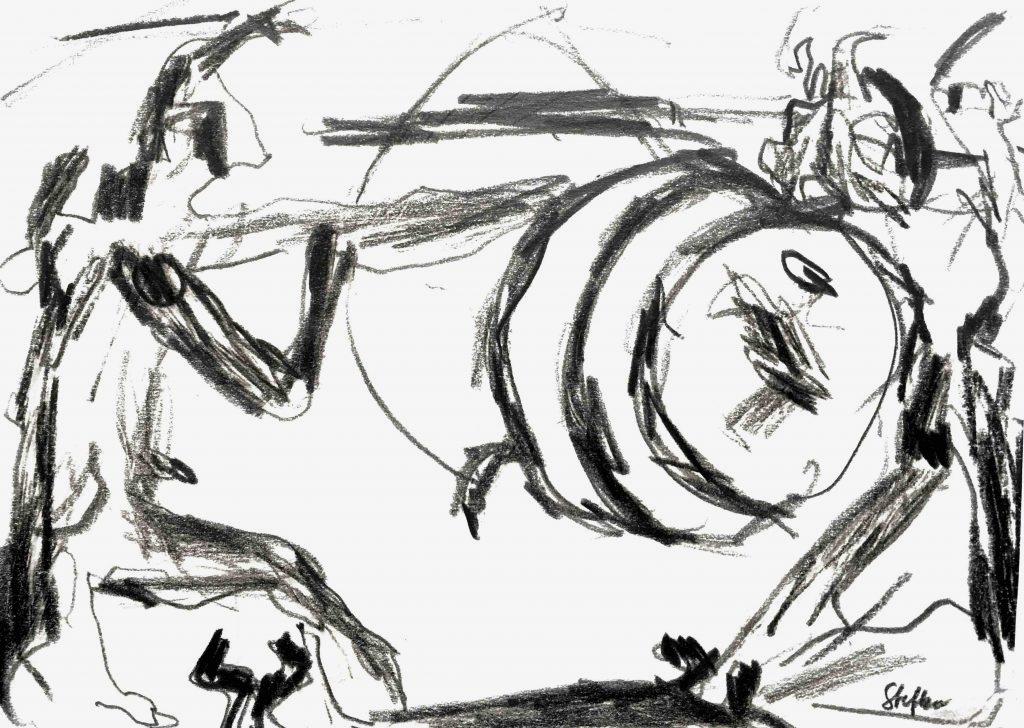 kämpfende, 1985, bleistift auf papier, 24 x 17 cm