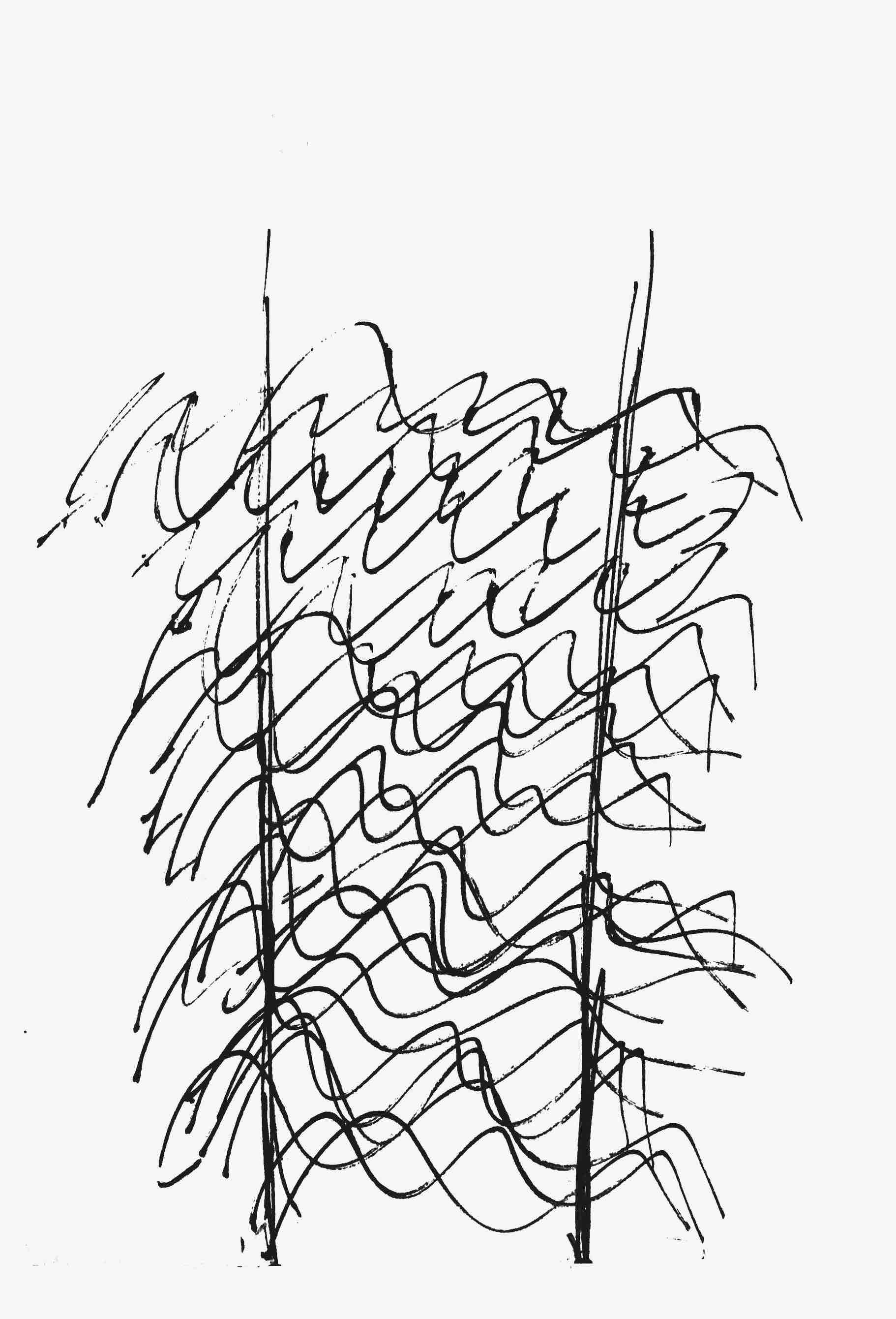sentence variations (1-4), ink on paper, 40 cm x 50 cm, 1985