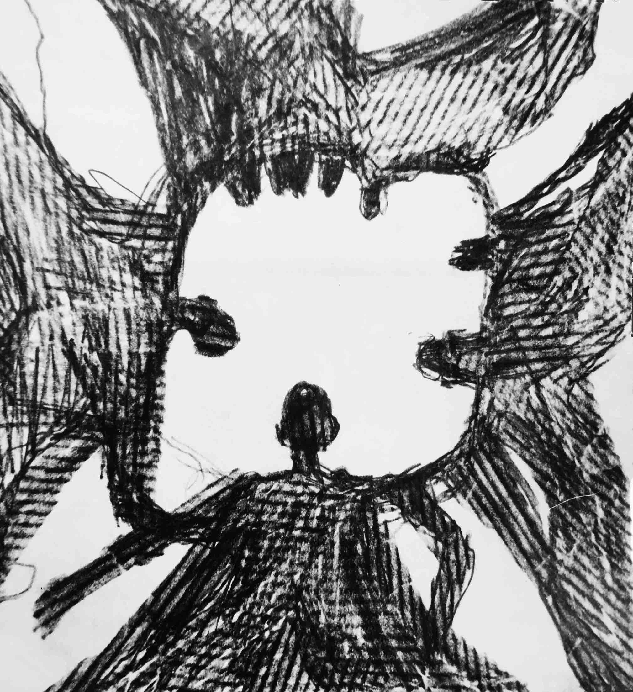 menschenkreis (2), bleistift auf papier, 20 cm x 20 cm, 1992