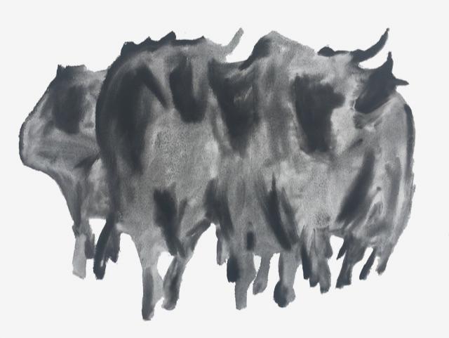 stiere, acryl auf leinwand, 115 x 85 cm, 1984